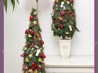 choinki z jodły w donicach, dekoracje bożonarodzeniowe, dekoracje świąteczne
