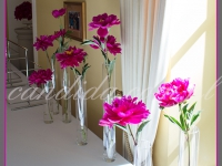 dekoracje eventowe, dekoracja bufetu, piwonie w szklanych tubach