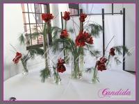dekoracja bożonarodzeniowa bufetu z amarylisów i sosny wejmutki, dekoracje eventowe, dekoracje bożonarodzeniowe dla PGNIG