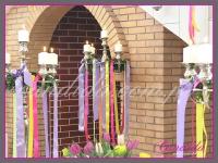 kandelabry z dekoracjami wielkanocnymi, dekoracje eventowe, dekoracje wielkanocne dla PGNIG
