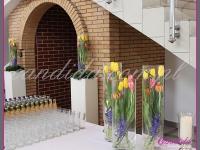 dekoracje wielkanocne, kompozycje kwiatowe na postumentach, wianki wielkanocne, dekoracja wielkanocna bufetu, dekoracje eventowe, dekoracje wielkanocne dla PGNIG