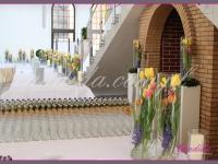 dekoracje wielkanocne, kompozycje kwiatowe w szklanych tubach, dekoracje eventowe, dekoracje wielkanocne dla PGNIG